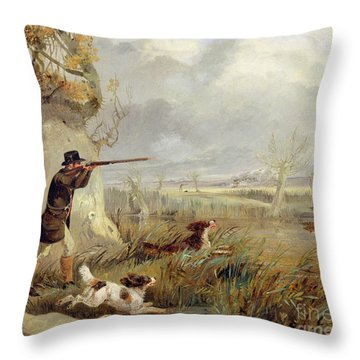 Duck Shooting  Throw Pillow by Henry Thomas Alken