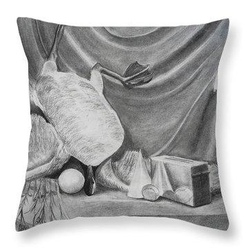 Duck Study On A Table Throw Pillow