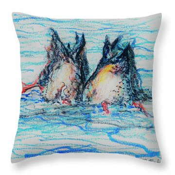 Throw Pillow featuring the mixed media Duck Tails by Denise Fulmer