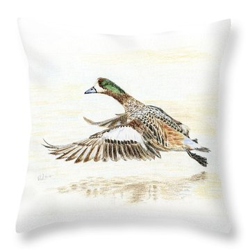 Duck Taking Off. Throw Pillow