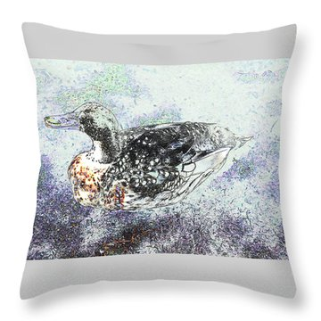 Throw Pillow featuring the photograph Duck With Fine Plumage by Nareeta Martin