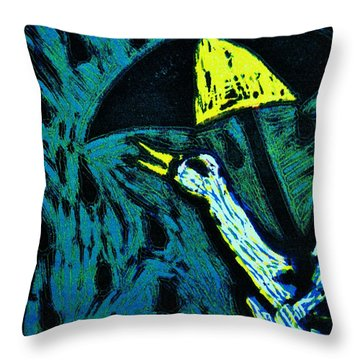Duck With Umbrella Blue Throw Pillow by Lucy Deane