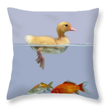Duckling And Goldfish Throw Pillow by Jane Burton