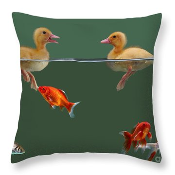 Ducklings And Goldfish Throw Pillow by Jane Burton