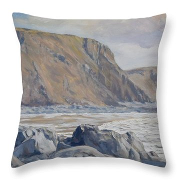 Throw Pillow featuring the painting Duckpool Boulders by Lawrence Dyer