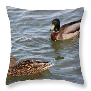 Ducks By The River Throw Pillow