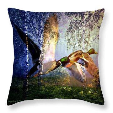 Ducks Flying To The Lake Throw Pillow