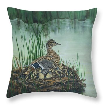 Ducks In Lifting Fog Throw Pillow