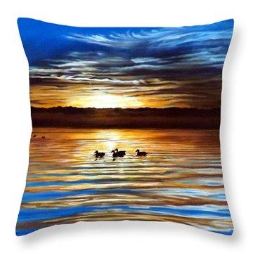 Ducks On Clear Lake Throw Pillow by Linda Becker