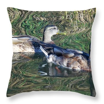 Ducks On Psychedelic Water Throw Pillow by Mikki Cucuzzo