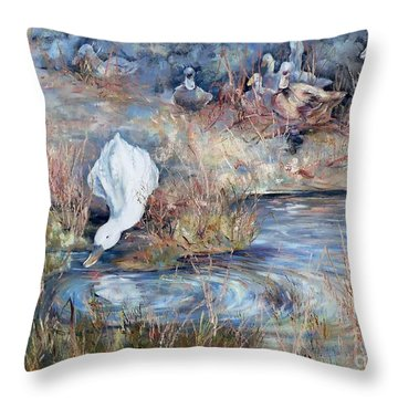 Ducks. Split Opposite Colour Harmony.  Throw Pillow