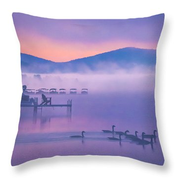 Ducks Under Fog Throw Pillow