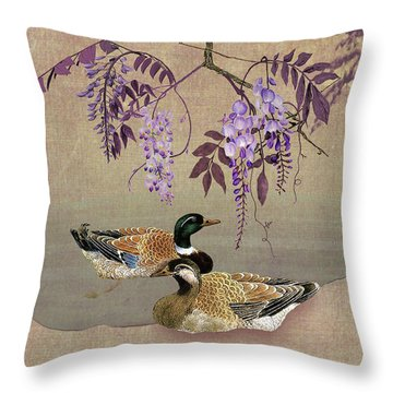 Ducks Under Wisteria Tree Throw Pillow
