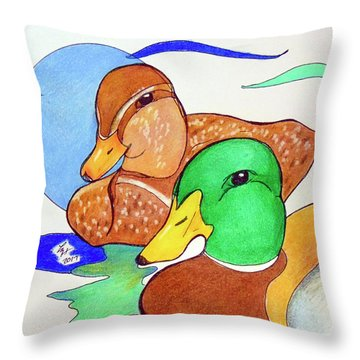 Ducks2017 Throw Pillow by Loretta Nash
