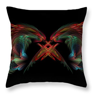 Dueling Dragons Throw Pillow by Lyle Hatch