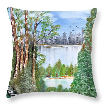 Dueling Lakes Throw Pillow