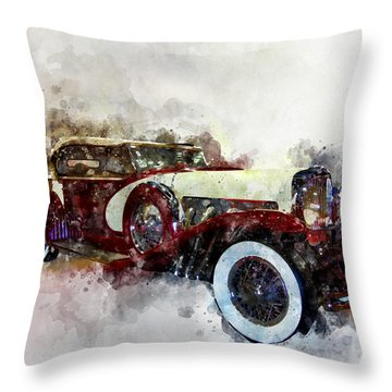 Throw Pillow featuring the photograph Duesenberg Watercolor by Michael Colgate