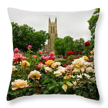 Duke Chapel And Roses Throw Pillow