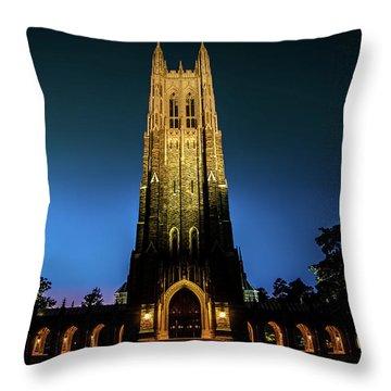 Duke Chapel Lit Up Throw Pillow