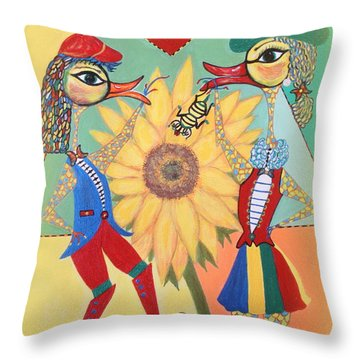 Throw Pillow featuring the painting Duke Have A Honey-bee by Marie Schwarzer