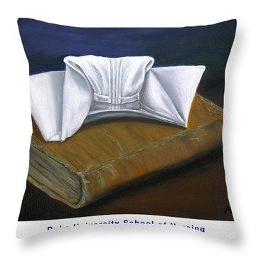 Duke University School Of Nursing Throw Pillow by Marlyn Boyd