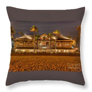 Throw Pillow featuring the photograph Duke's Restaurant Huntington Beach - Back by Jim Carrell