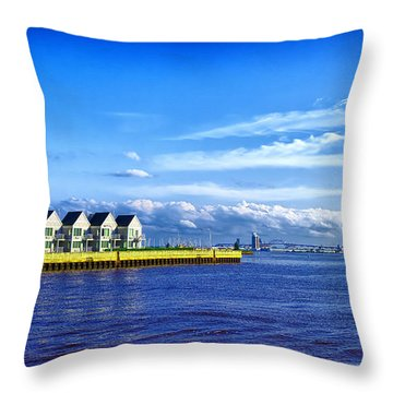 Duluth Minnesota Harbor Throw Pillow