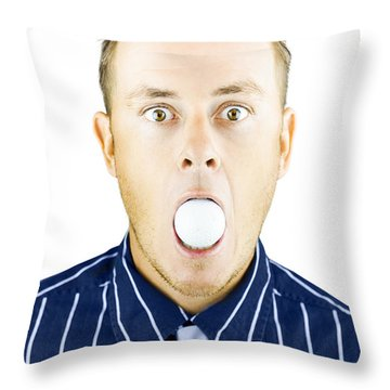 Dumbfounded Man Silenced By A Golf Ball Throw Pillow by Jorgo Photography - Wall Art Gallery