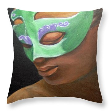 Throw Pillow featuring the painting Dunbar's Mask by Saundra Johnson