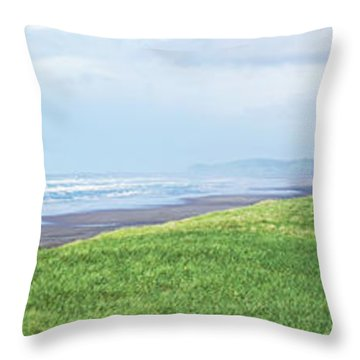 Dune At Fort Stevens Throw Pillow by Angi Parks