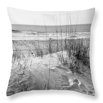Dune - Black And White Throw Pillow by Angela Rath