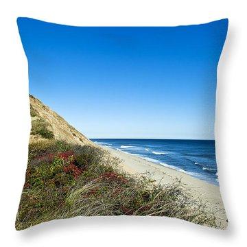 Dune Cliffs And Beach Throw Pillow by John Greim