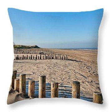 Dune Conservation Holme Dunes North Norfolk Uk Throw Pillow by John Edwards
