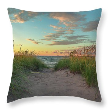 Dune Path At Sunset Throw Pillow