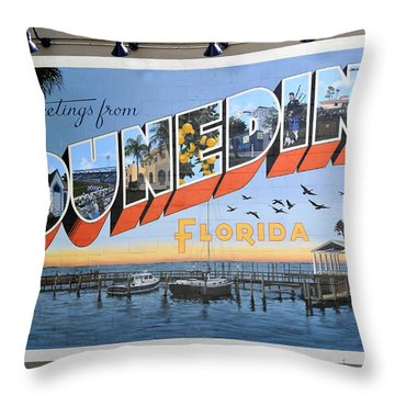 Dunedin Florida Post Card Throw Pillow