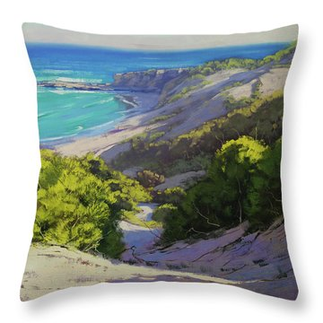 Dunes At Slodiers Beach Throw Pillow