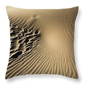Dunes Footprints Throw Pillow