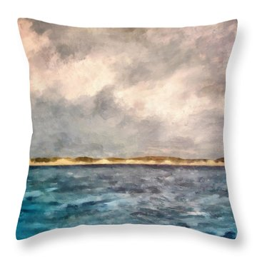 Dunes Of Lake Michigan With Rough Seas Throw Pillow by Michelle Calkins