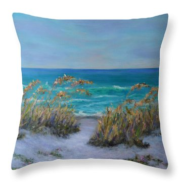 Dunes Path Ocean Painting Part 1 Throw Pillow
