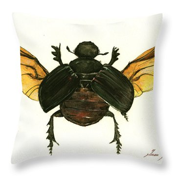 Dung Beetle Throw Pillow by Juan Bosco