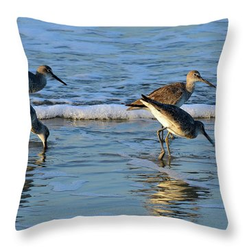 Dunking Willets Throw Pillow by Bruce Gourley
