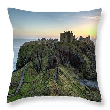 Dunnottar Castle At Sunrise Throw Pillow