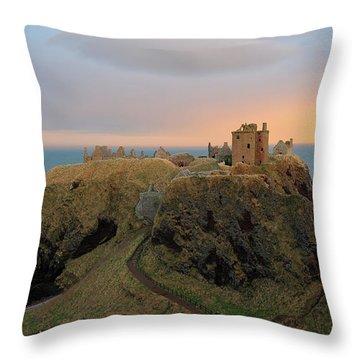Throw Pillow featuring the photograph Dunnottar Castle Sunset Rainbow by Grant Glendinning
