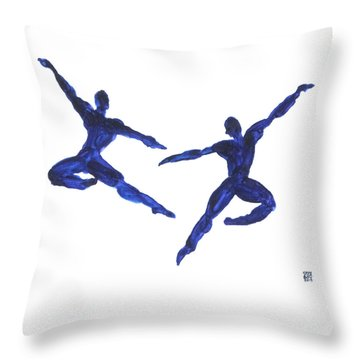 Duo Leap Blue Throw Pillow by Shungaboy X
