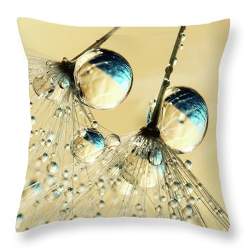 Duo Shower Dandy Drops Throw Pillow by Sharon Johnstone
