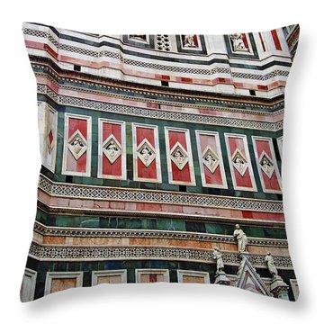Giotto's Campanile Facade Detail Throw Pillow