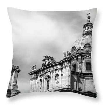 Duomo Of Santi Luca E Martina And Arch Of Septimius Severus  Throw Pillow