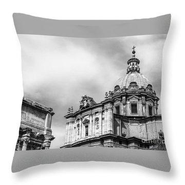 Duomo Of Santi Luca E Martina And Arch Of Septimius Severus  Throw Pillow