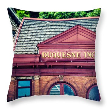Duquesne Incline Of Pittsburgh Throw Pillow by Lisa Russo