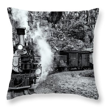 Durango Silverton Train Bandw Throw Pillow